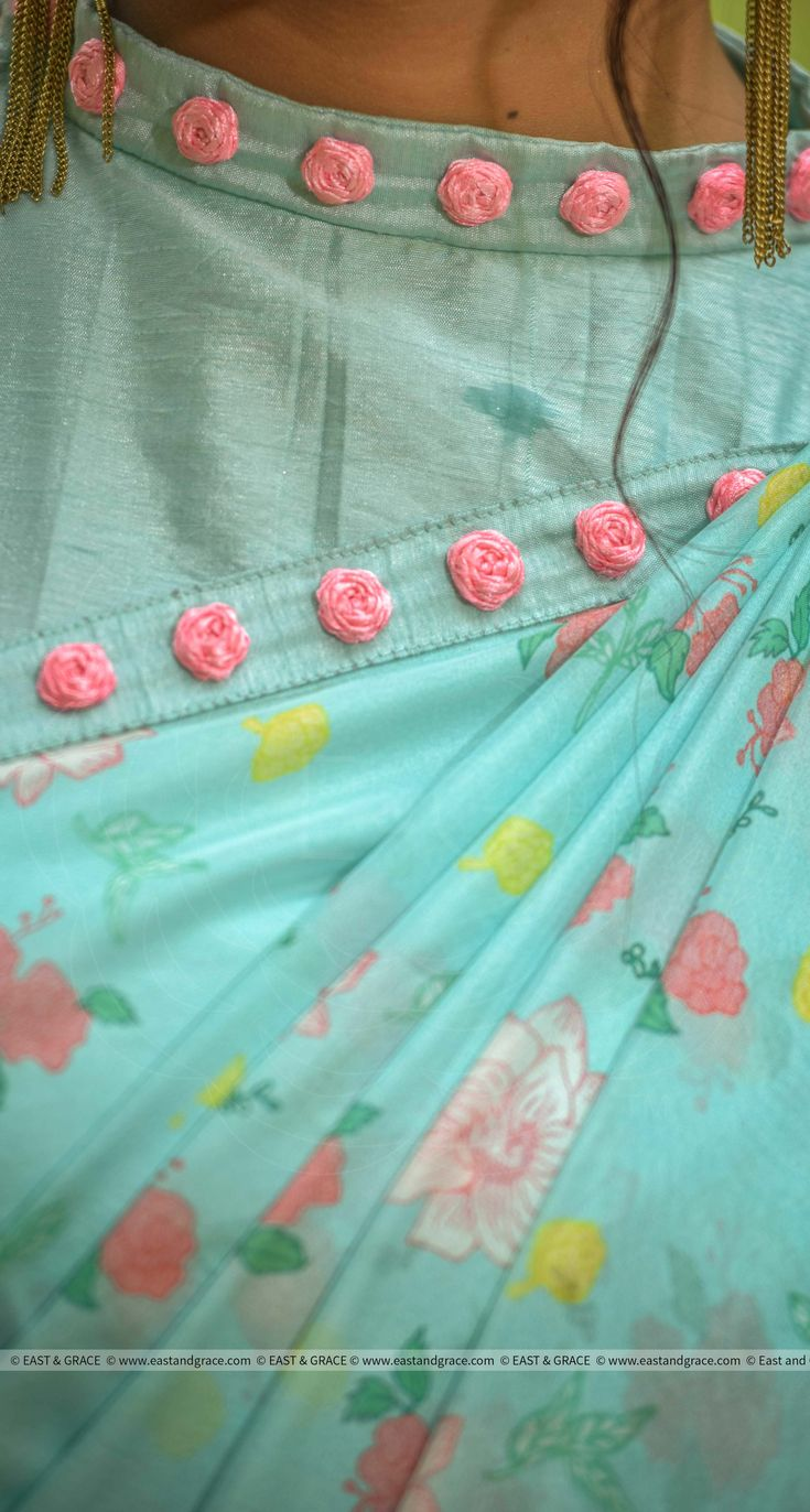 PRICE INR 14,455/-; US$ 219.00 To buy click here https://www.eastandgrace.com/products/mermaids-dream-saree Featuring the Mermaid's Dream mint-colored floral print pure silk-chiffon saree. The mint, blended raw silk blouse is embellished with pink ribbonwork roses on the edges. It comes with an unstitched blended raw-silk blouse piece with pink rosebuds and an unstitched matching lycra-satin petticoat fabric. Reach us: care@eastandgrace.com