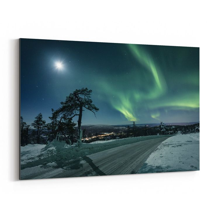 Noir Gallery Northern Lights Lapland Finland Canvas Wall Art Print (20 x 30)