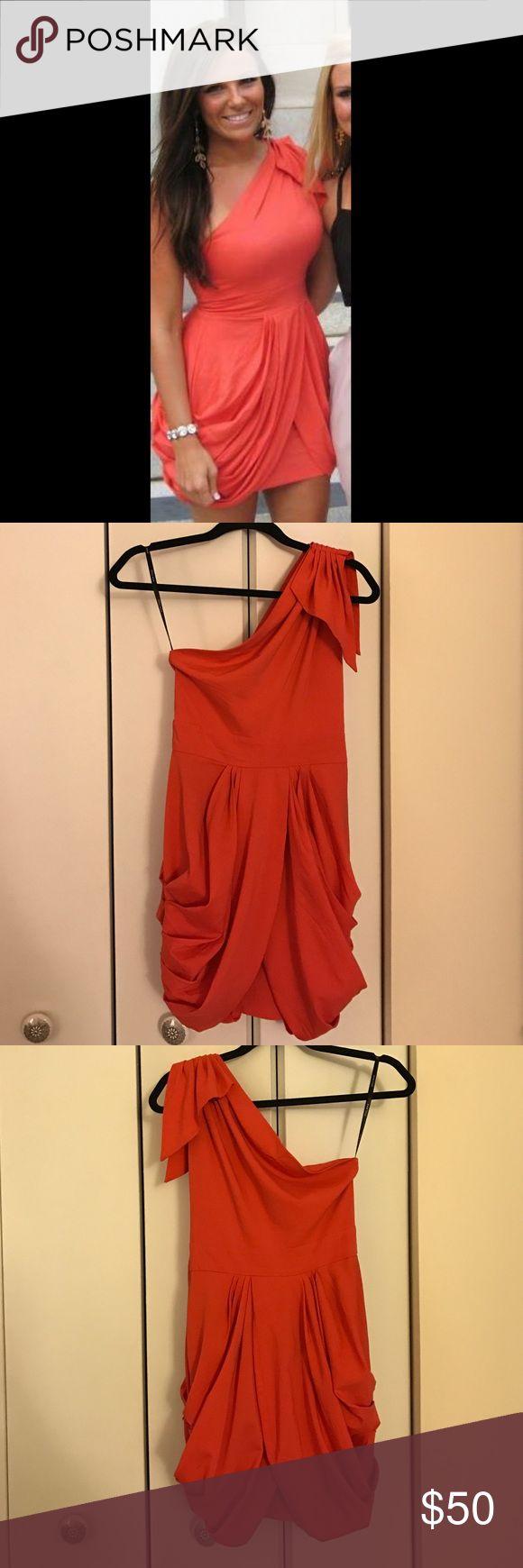 One strap orange dress I have never gotten more compliments on a dress! Great for a spring/summer/destination wedding guest dress! ASOS Dresses One Shoulder