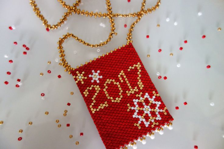Red Gold Seed Bead Necklace, Lucky Charm,Made in Greece,Beadwoven necklace, Peyote necklace,Festive necklace, SouSou Necklace, Gifts for her by SouSouHandmadeArt on Etsy