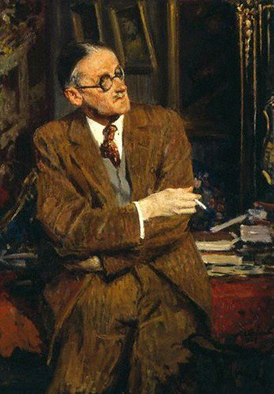 James Joyce wrote lying on his stomach in bed, clad in a white coat, and composed most of Finnegans Wake with crayon pieces on cardboard.