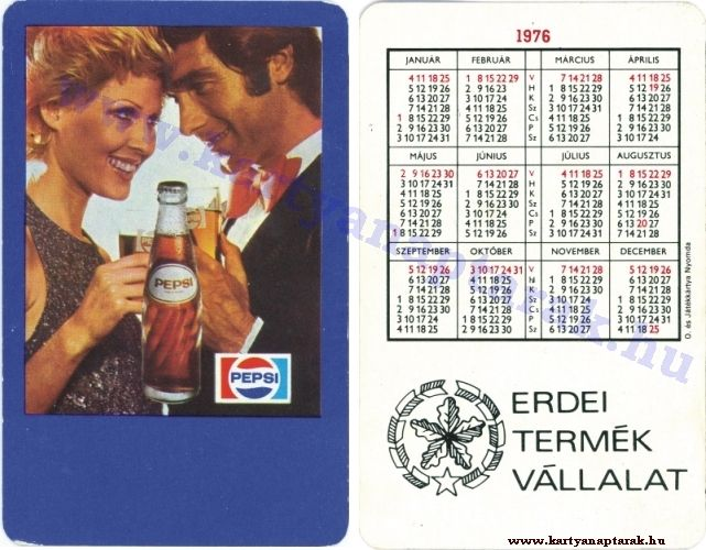 Pepsi Cola - 1976 0075 - Régi magyar kártyanaptárak