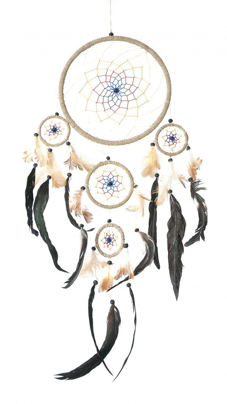 Attrape-rêves (Ø= 22 cm, L = 70 cm), Plumes véritables (Dreamcatcher), attrape reve - Capteur de rêves - Attrapeur