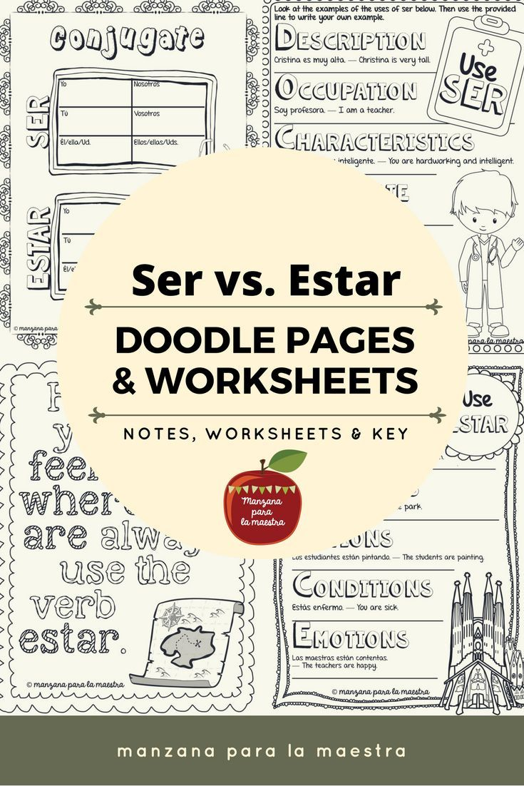 Engage Your Students With These Ser Vs Estar Doodle Notes The Notes Include The Mnemonics Doctor Learning Spanish Spanish Teaching Resources Spanish Grammar