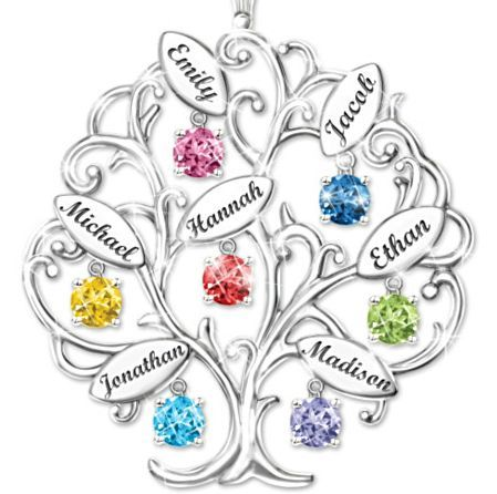 Personalized Birthstone Family Tree Necklace with names - Love the unique look!  Each family member's name is engraved on a leaf.: