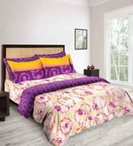 Buy Tangerine Tangy Orange Purple Cotton Floral Double Bed Sheet (with Pillow Covers)  Online: Shop from wide range of Bed