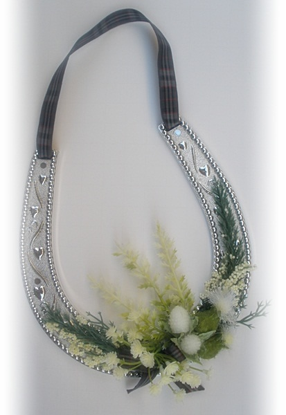 Scottish Wedding Horseshoe, Good Luck for Couple - traditional tartan colors dress up a silver horse shoe