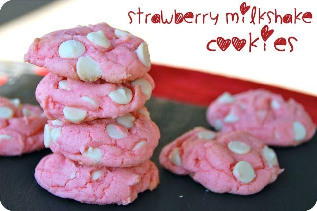 Strawberry Milkshake Cookies