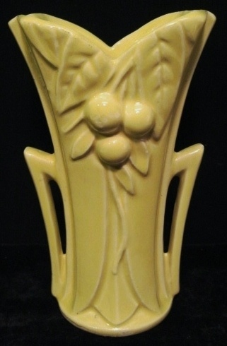 VINTAGE MCCOY POTTERY ART DECO VASE~LEAF BERRY CHERRY~POINTED HANDLES~YELLOW