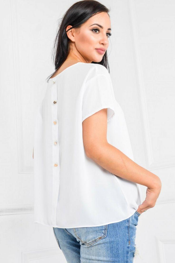 Bluzka koszulowa a`la mgiełka z guziczkami, Ona Odzież Bluzki | Sukienki.shop