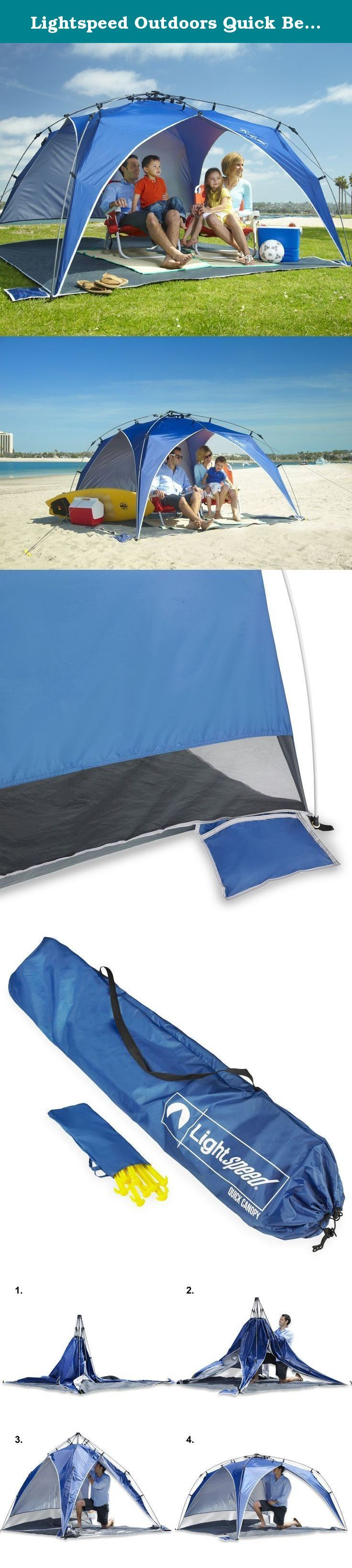 Lightspeed Outdoors Quick Beach Canopy Tent, Blue. Great for beaches, parks, and sporting events, the Lightspeed Outdoors Quick Beach Canopy Tent is the perfect place to get out of the sun. It features a built-in sidewall that protects from the sun and wind. The beach canopy provides UPF 50+ shade for all-day outdoor fun on the sidelines with your team, on the sand, at the park or in the backyard. The Lightspeed Outdoors' integrated poles and bottom-pull hub system, allows for instant set…