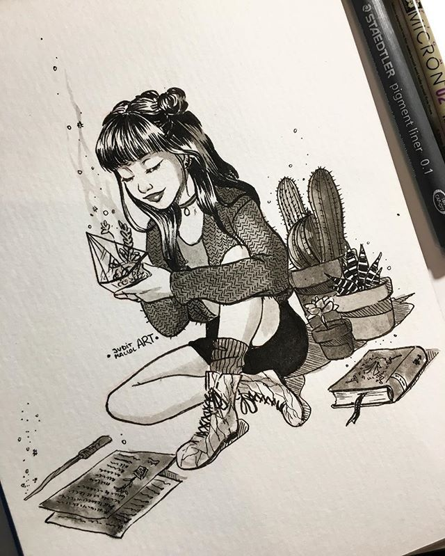Instagram photo by juditmallolart - #inktober day 12! I really wish I could be a witch so I could use spells to keep all the plants alive *note: I have seen some comments asking about if i'll post the inktobers on my redbubble and society6 stores. Would you want me to post them there?? Let me know!!