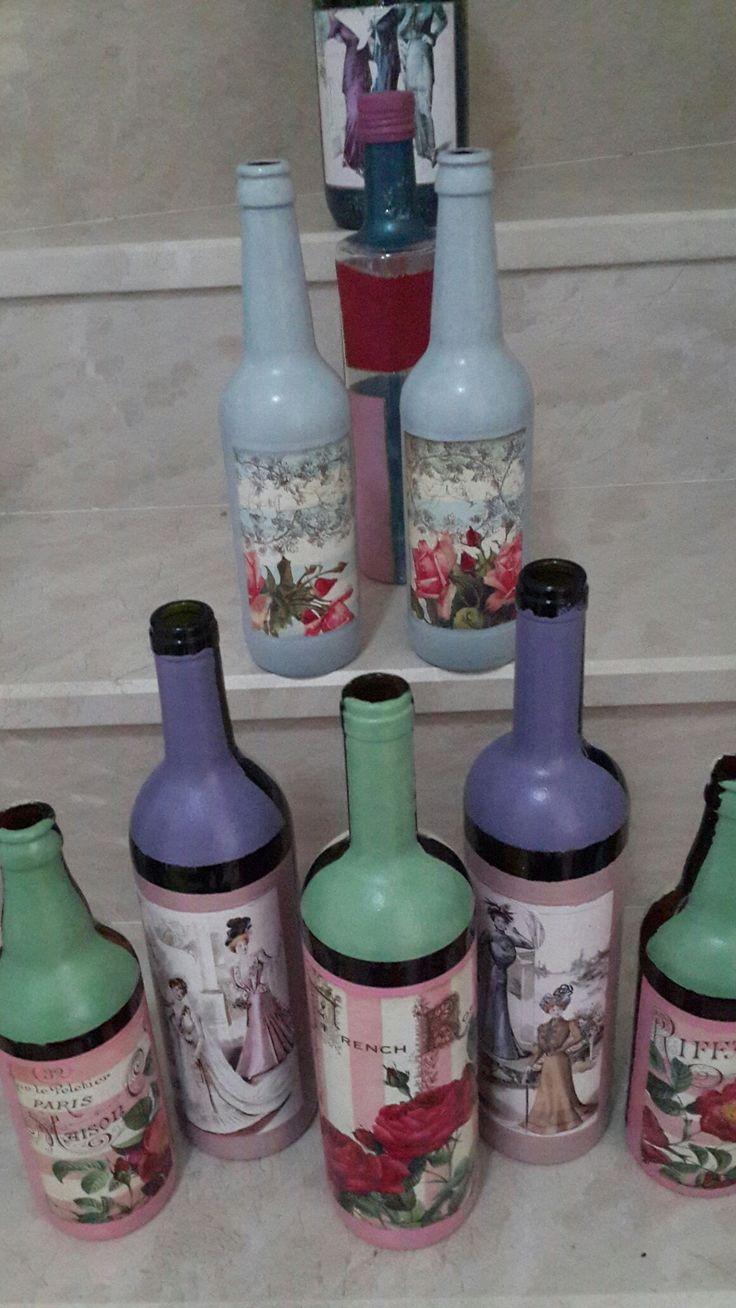 bottles handmade paint