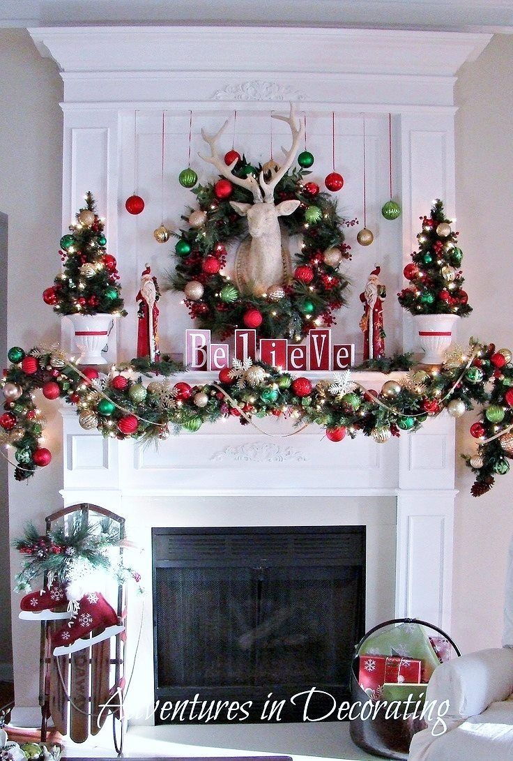 Christmas mantle. Minus the deer head. I'm not about that deer head on the wall life.