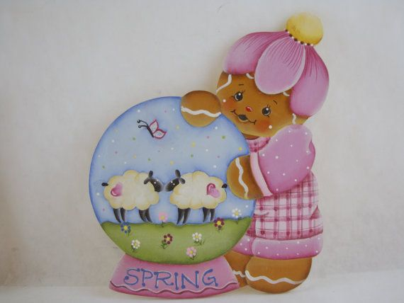 Sweet Spring Gingerbread Snowglobe  Gingerbread by ByBrendasHand