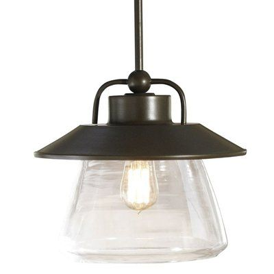 allen + roth 12-in W Mission Bronze Pendant Light with Clear Shade This allen + roth product is illuminated by . Mission bronze finish and retro design