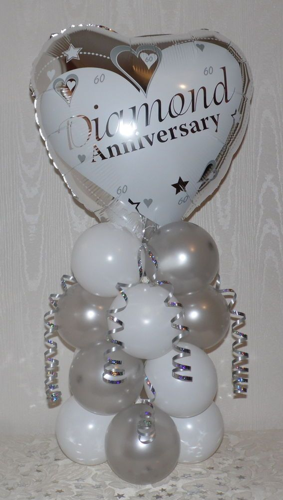 Details About Diamond 60th Wedding Anniversary Foil Balloon