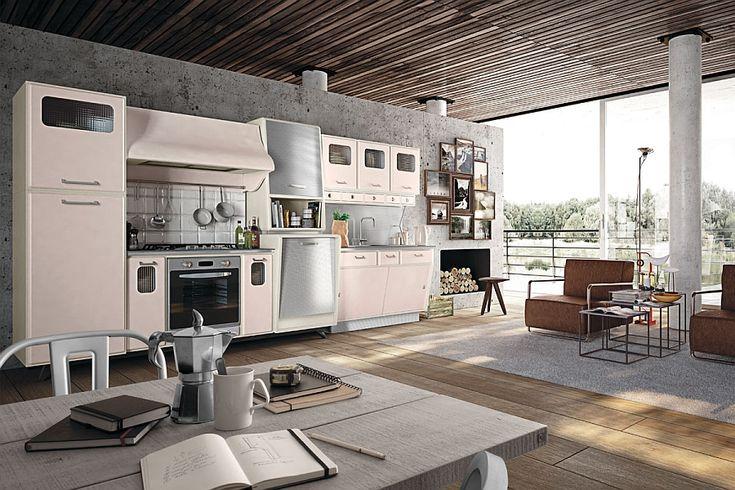 Tile baksplash, concrete wall and a retro kitchen station in the Saint Louis - Decoist