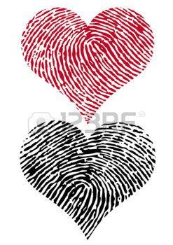 stencil: formas de corazón con la textura de la huella digital,
