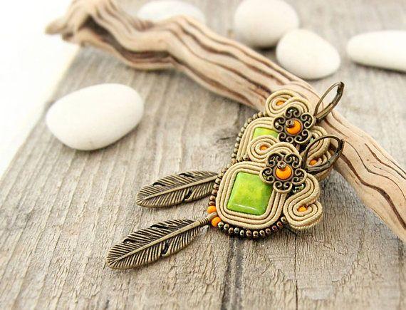 Bohemian feather earrings green dangle drop earrings light