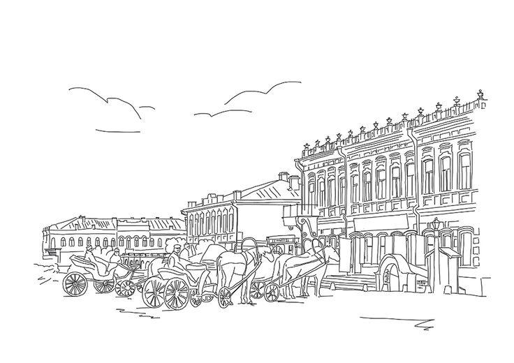 sketch, illustration, artwork, Yekaterinburg, calendar