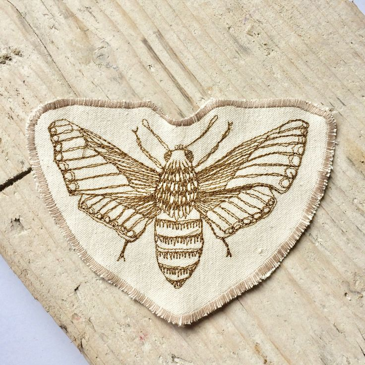 moth patch, iron on patch, embroidered moth, freehand embroidery, moth embroidery, customise clothes, personalise bags, back to school, moth by MokodoStudio on Etsy