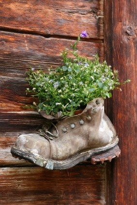 Recycled Garden!! So neat!! What you'll need: old shoes/boots, some soil, and some seeds!!
