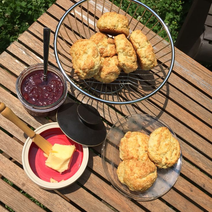 Biscuits, warm strawberry jam and organic butter on a sunny Canada Day.