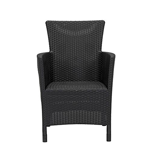 Pair of Allibert Iowa Rattan Garden Chairs in Graphite / Dark Grey With Dark Grey Cushions