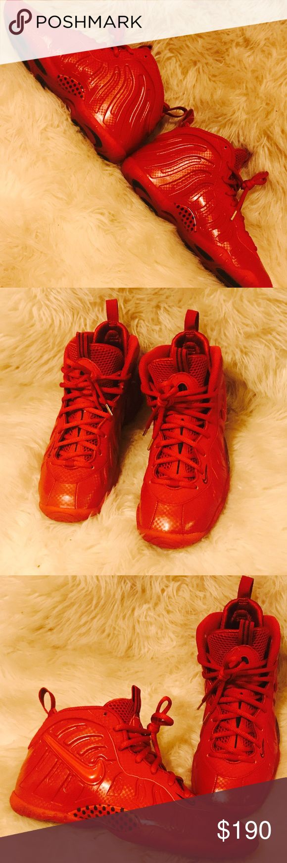 All Red Foamposites Re Posh , They Are Great Condition Just Too Tight For My Foot ! They Are Grade School Size & Rare To Come By Nike Shoes Sneakers