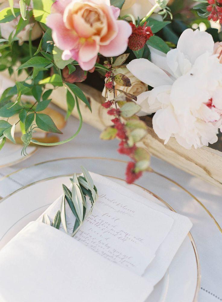 Sunstone Villa Wedding by Jen Huang Photo Olive branch detail on plate