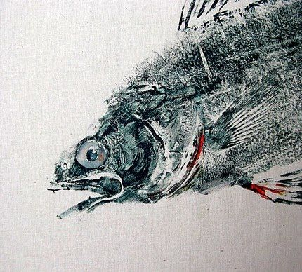 Gyotaku prints are prints or rubbings made by putting pigment onto a fish and making a print directly from the fish. In ancient Japan, the purpose of these prints were to record how large a fish was caught.  By Barry Singer
