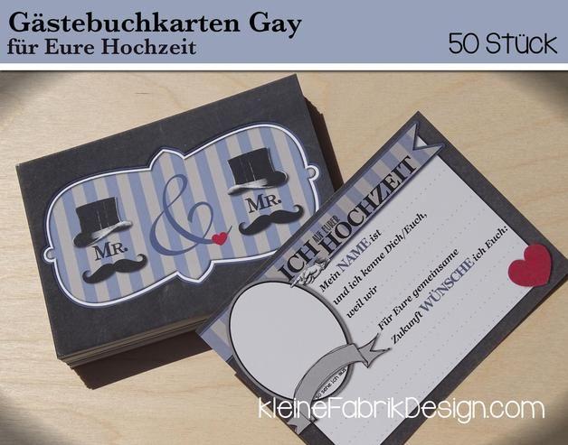 Hochzeitsgästebuch - 50 GÄSTEBUCH KARTEN GAY für die Hochzeit als Gä... - ein Designerstück von KleineFabrik bei DaWanda