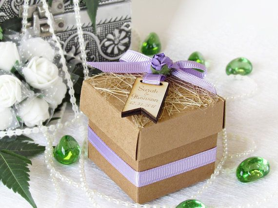 6 PCS,Wedding Favor Boxes,Personalized Custom Wooden Tags with Satin Bow,Shower Favors,Candy Boxes and Any Color of Ribbon,Gifts for Guests,