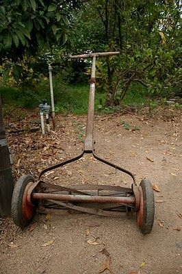Push Type Lawn Mower & Vintage Kitchen...grandma's favorites. http://www.pinterest.com/pin/274297433530573873/