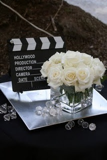 Oscar night tablescape idea! The only thing missing is some chocolate dipped strawberries. A little pop of color (and sweetness) can go a long way!