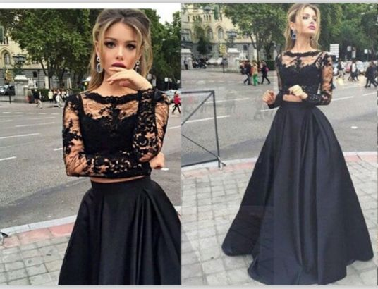 Long Sleeves Black Lace Prom Gowns,High Neck Two Pieces Prom Dresses,Mid Section Cheap Evening Gown,Wedding Party Gown For Sweet 16 Dresses,Graduation Dresses