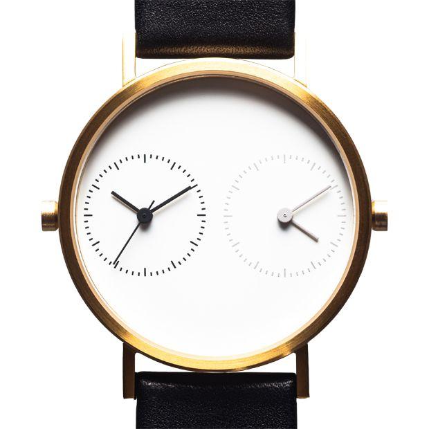 Long Distance 1.0 (gold) watch by Kitmen Keung. Available at Dezeen Watch Store: www.dezeenwatchstore.com
