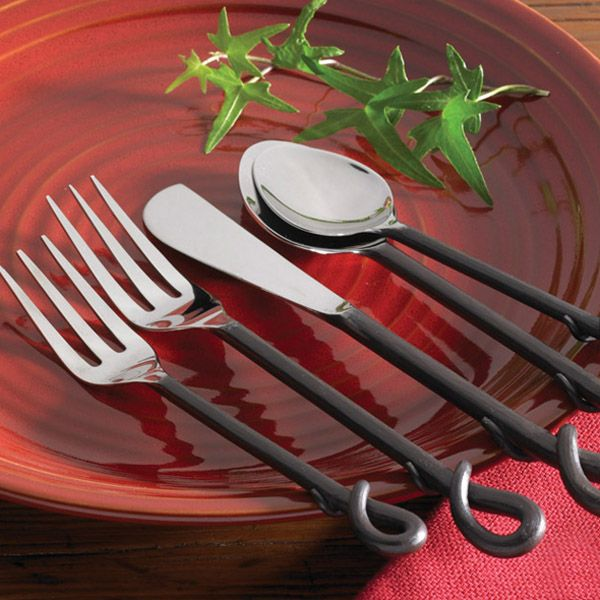 Tuscan Wrought Iron Flatware Set Wrought Iron Rustic Flatware Rustic Dinnerware Farmhouse