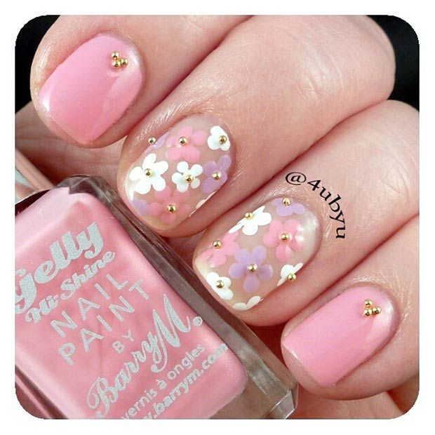 Light Pink Nails + Negative Space Flowers