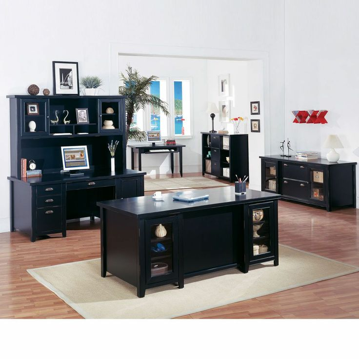 The Kathy Ireland Tribeca Loft Black Complete Executive Office Set By  Martin Furniture // Contemporary