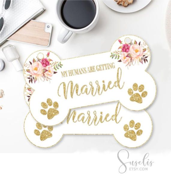Printable Engagement Photo Prop Dog sign Floral My Humans Are