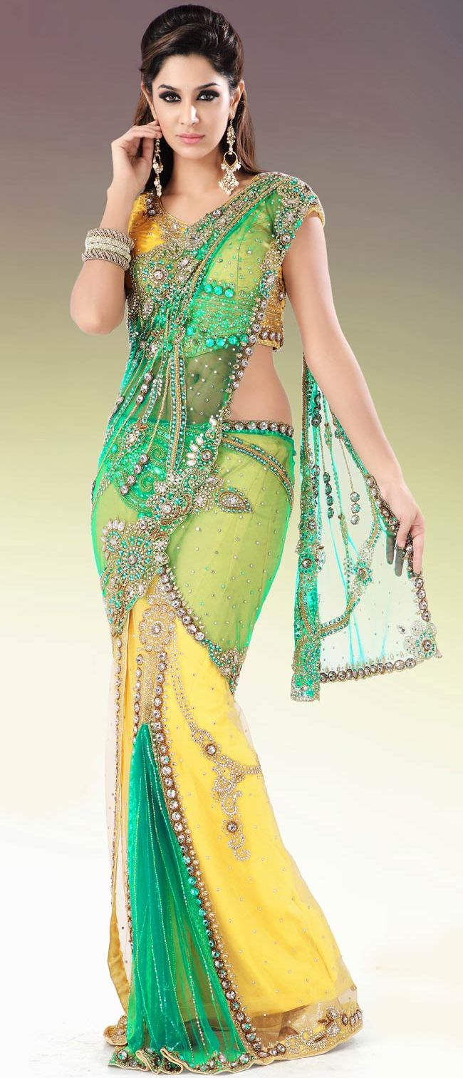 #Yellow and #Green Net #Lehenga Style #Saree With Blouse @ $355.11