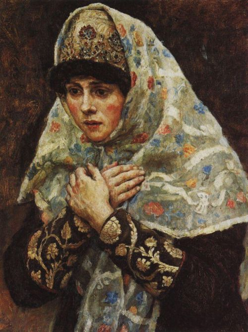 Vasily Surikov - Boyaryshnya with Her Hands Crossed over Her Chest, 1885