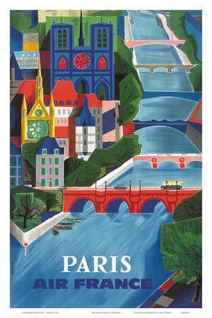 Air France: Paris - La Seine, c.1953 Konsttryck