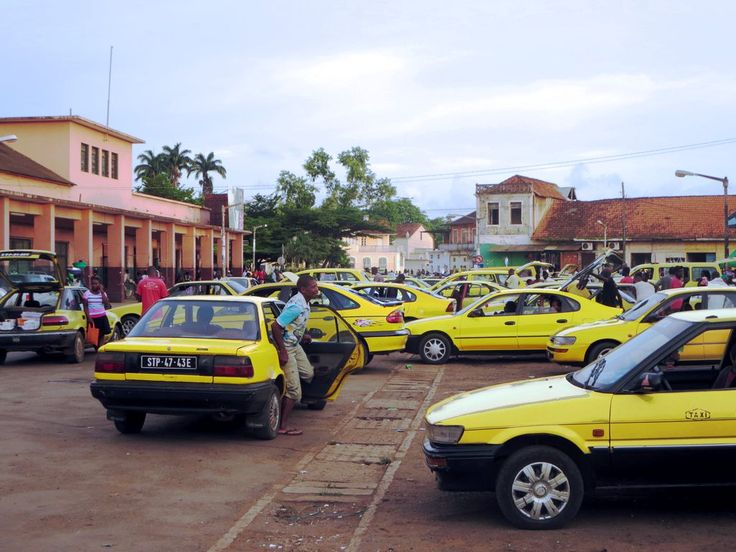 Taxis are plentiful around the Mercado Municipal in Sao Tome, São Tomé and Príncipe.
