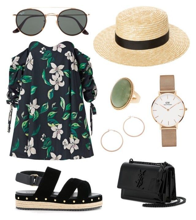 """Jungle look"" by szlzsnb on Polyvore featuring Caroline Constas, Ray-Ban, Muveil, Yves Saint Laurent, Jennifer Zeuner and Daniel Wellington"