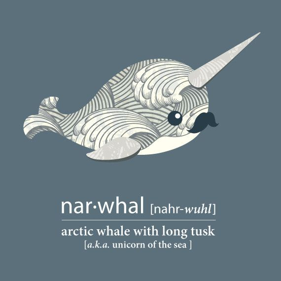Cute Narwhal- Print File - Unicorn of the Sea - Personalized - Nursery - Office - Kids Room - Moustache - Horned Whale - Fun - Vintage Style. $15.00, via Etsy.