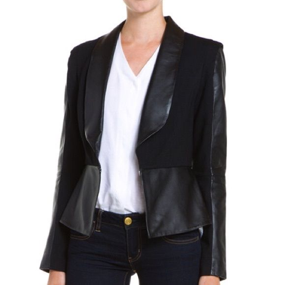 SALERebecca Minkoff Becky Jacket Rebecca Minkoff's iconic Becky Jacket is a style must-have. Ponte with leather trim. BNWT. Rebecca Minkoff Jackets & Coats