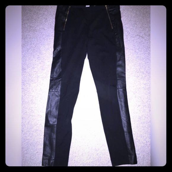 H&M leggings with faux leather Very cute H&M leggings with leather panel down the side. Very cute zipper detail on front, and very flattering fit! Very good condition, just too big for me. Runs pretty true to size. H&M Pants Leggings